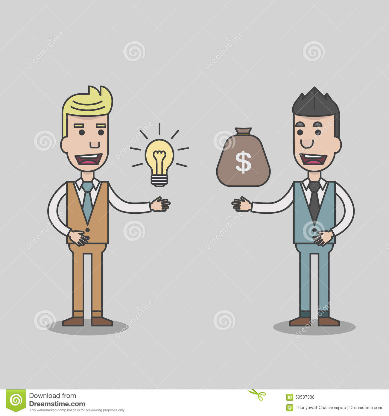 a6128470bf9 Two Business Man Exchange Idea And Money Stock Vector - Illustration ...