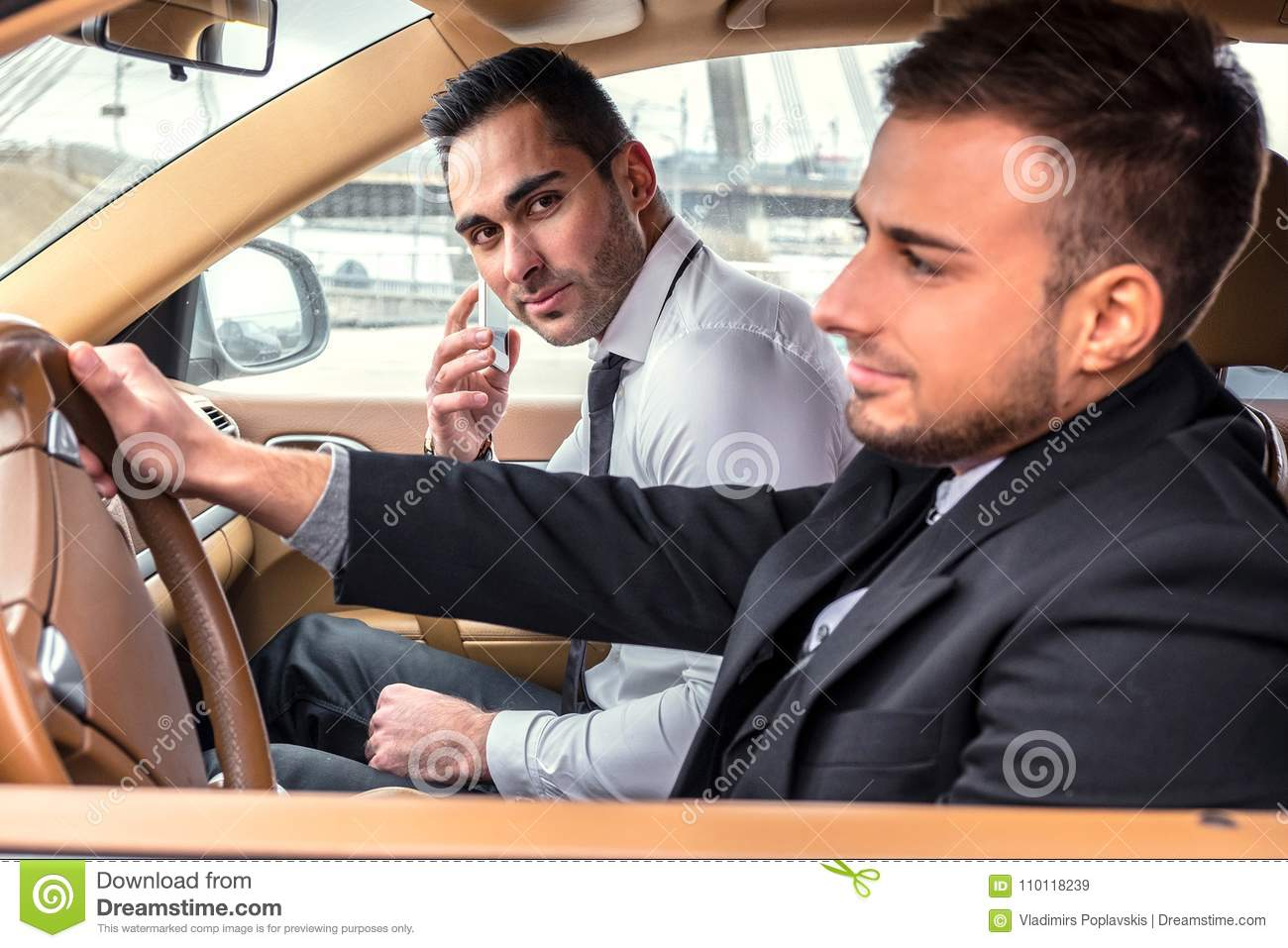 Two males in car
