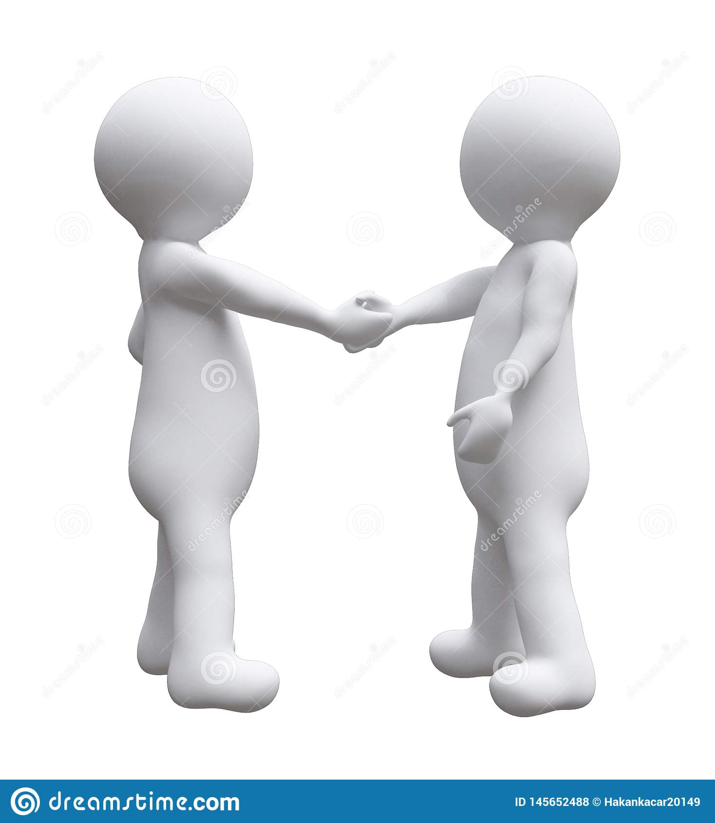 Two business men shaking hands illustration d small people isolated white background.