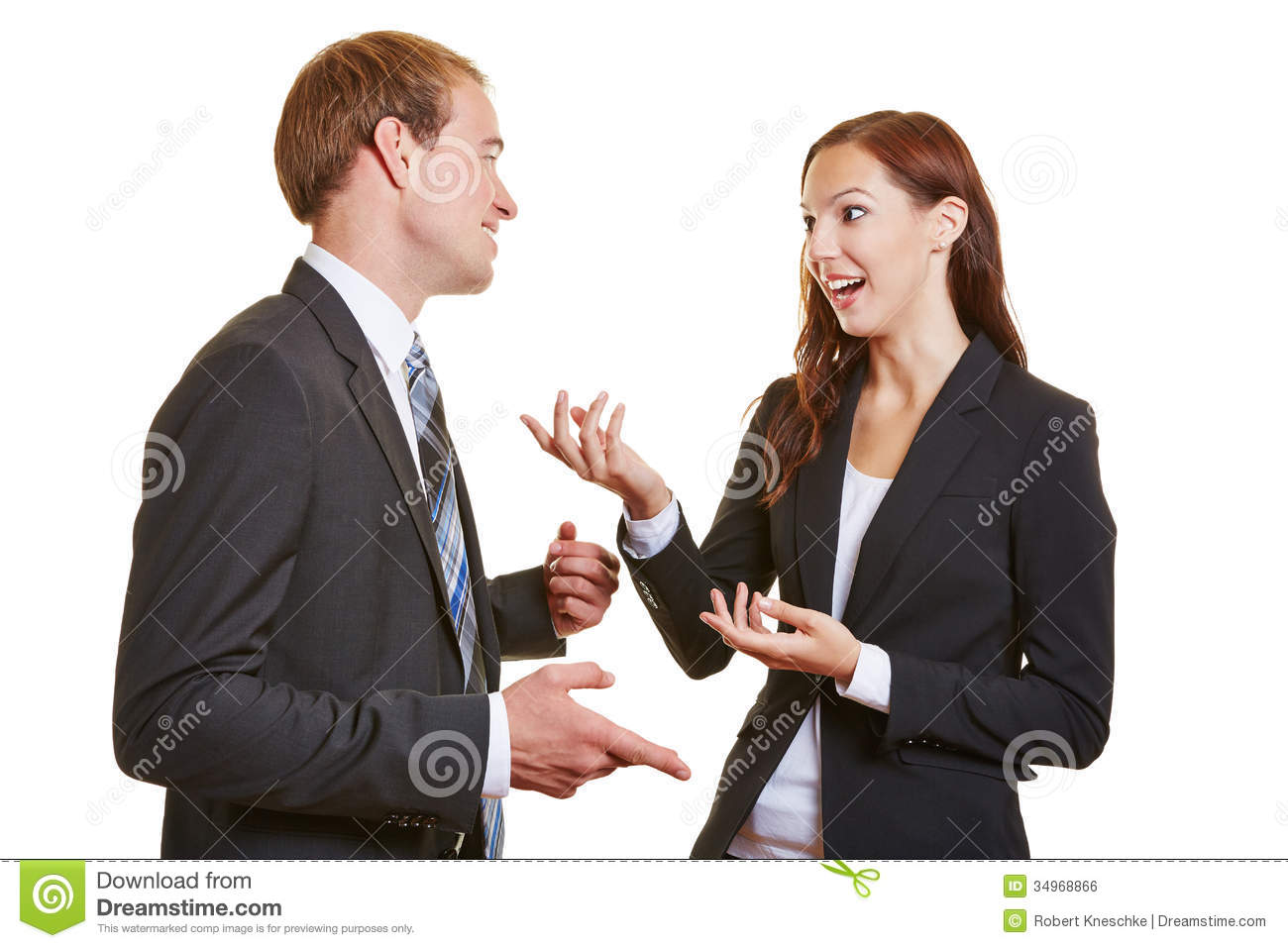Two business people talking to each