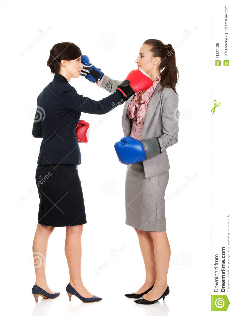Two Business Women With Boxing Gloves Fighting Stock