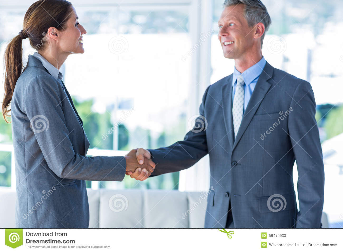 Two Business Workers Shake Hands Stock Image Image Of