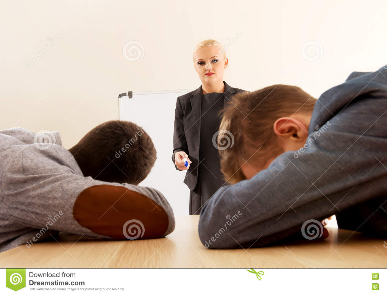 Two businessman sleeping on business presentation