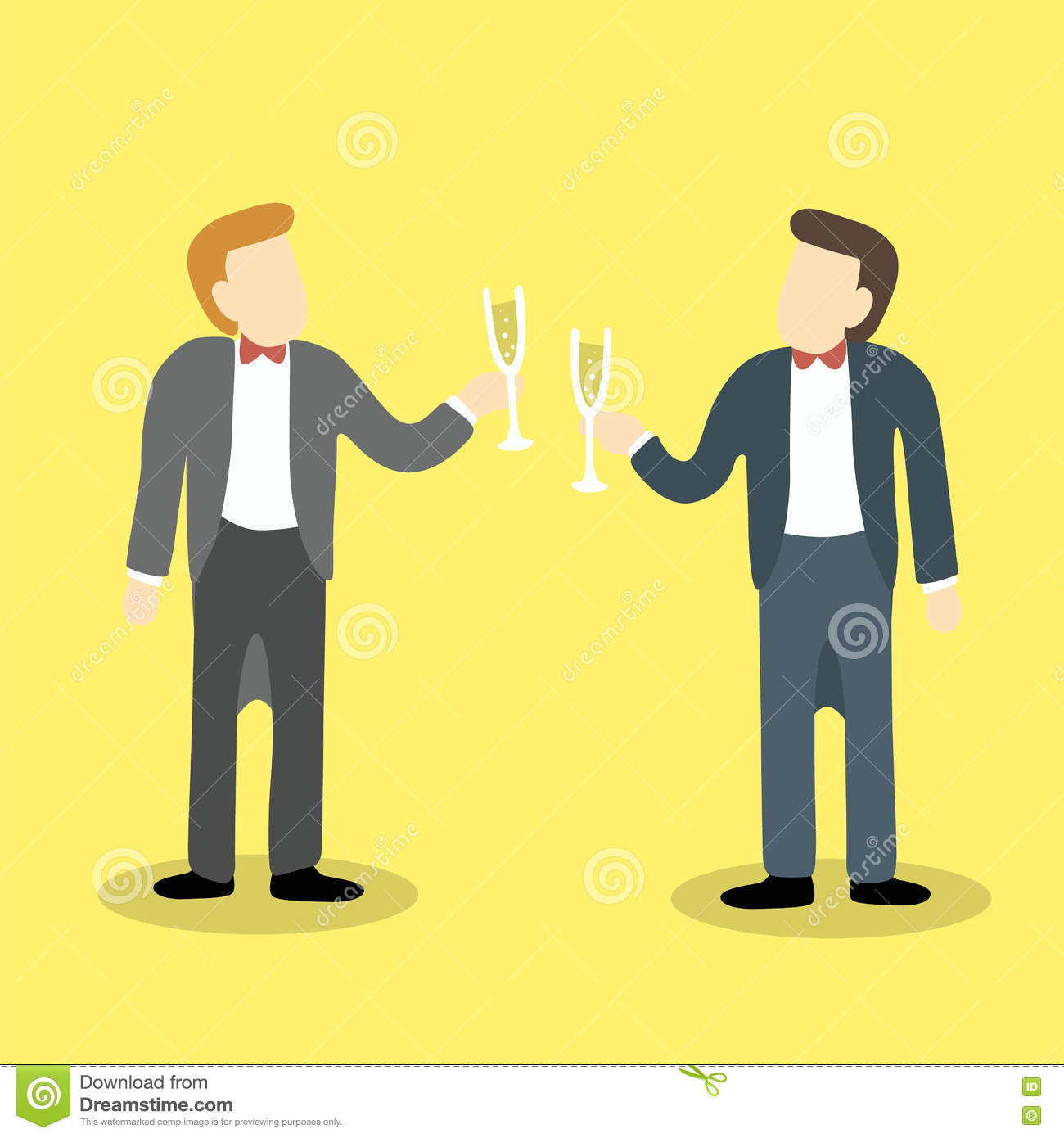Two businessmen clink glasses of champagne to celebrate a success