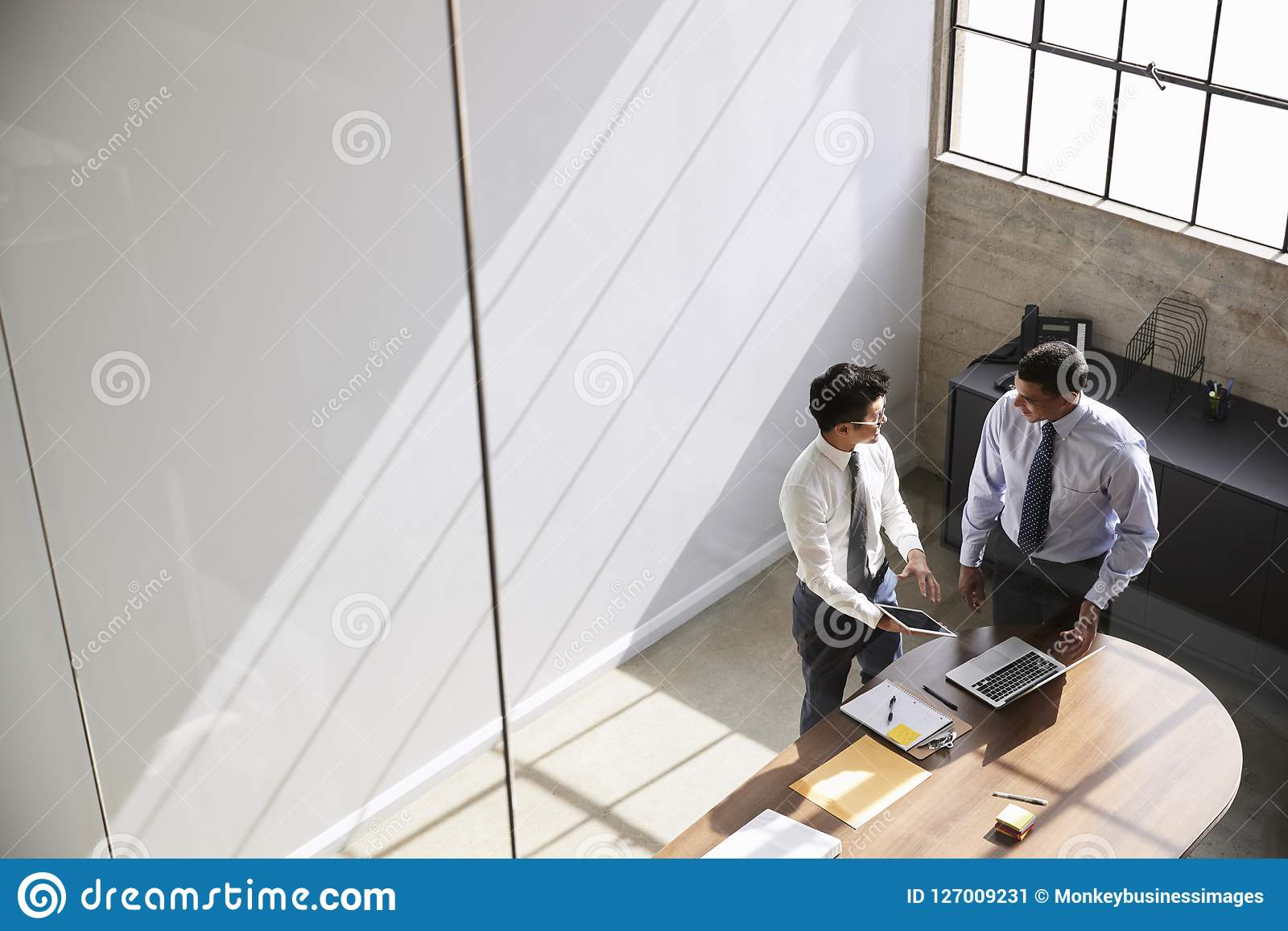 Two businessmen in discussion using laptop, elevated view
