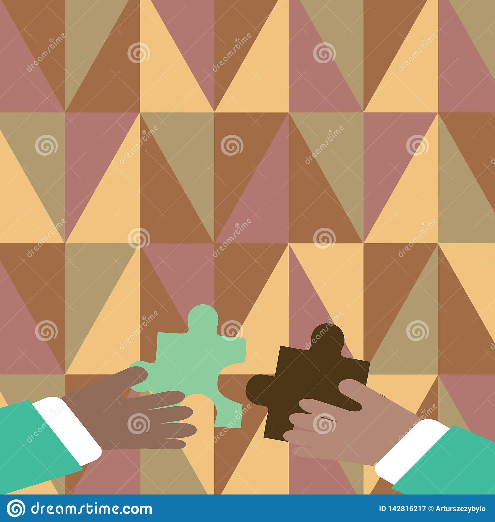 Two Businessmen Hands Holding Colorful Pieces of Jigsaw Puzzle are about to Interlock the Tiles. Creative Background for
