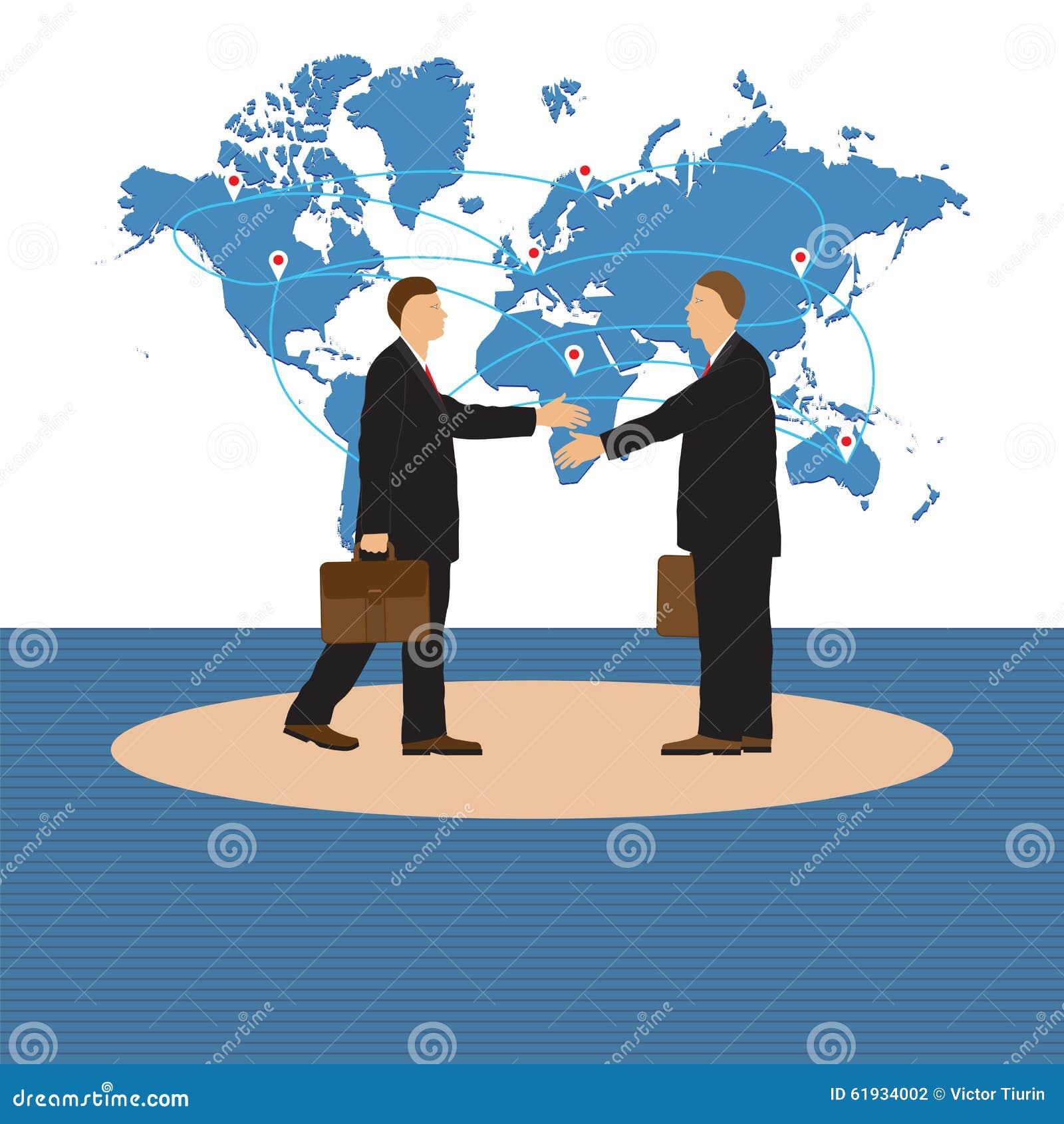 Two businessmen handshake stock vector illustration of earth download two businessmen handshake stock vector illustration of earth company 61934002 m4hsunfo