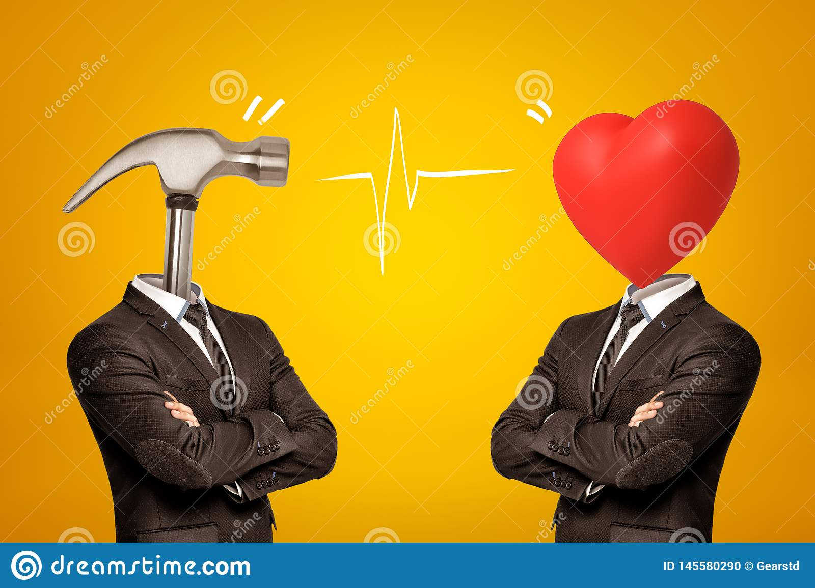Two businessmen with metal hammer and red heart instead of their heads on yellow background