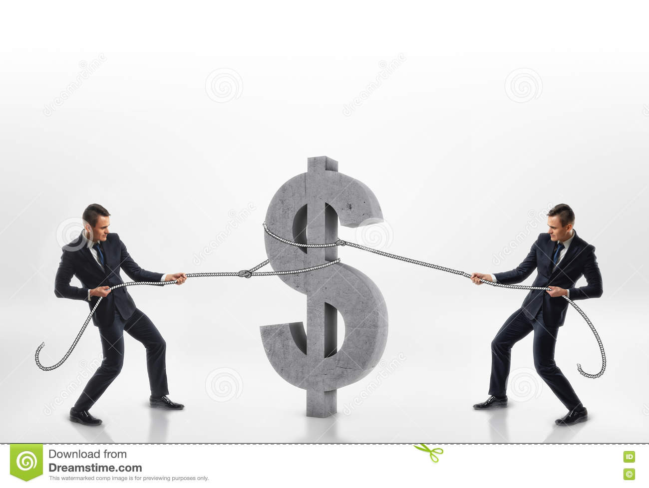 Two businessmen pulling big concrete 3d dollar sign with ropes in opposite directions isolated on white background