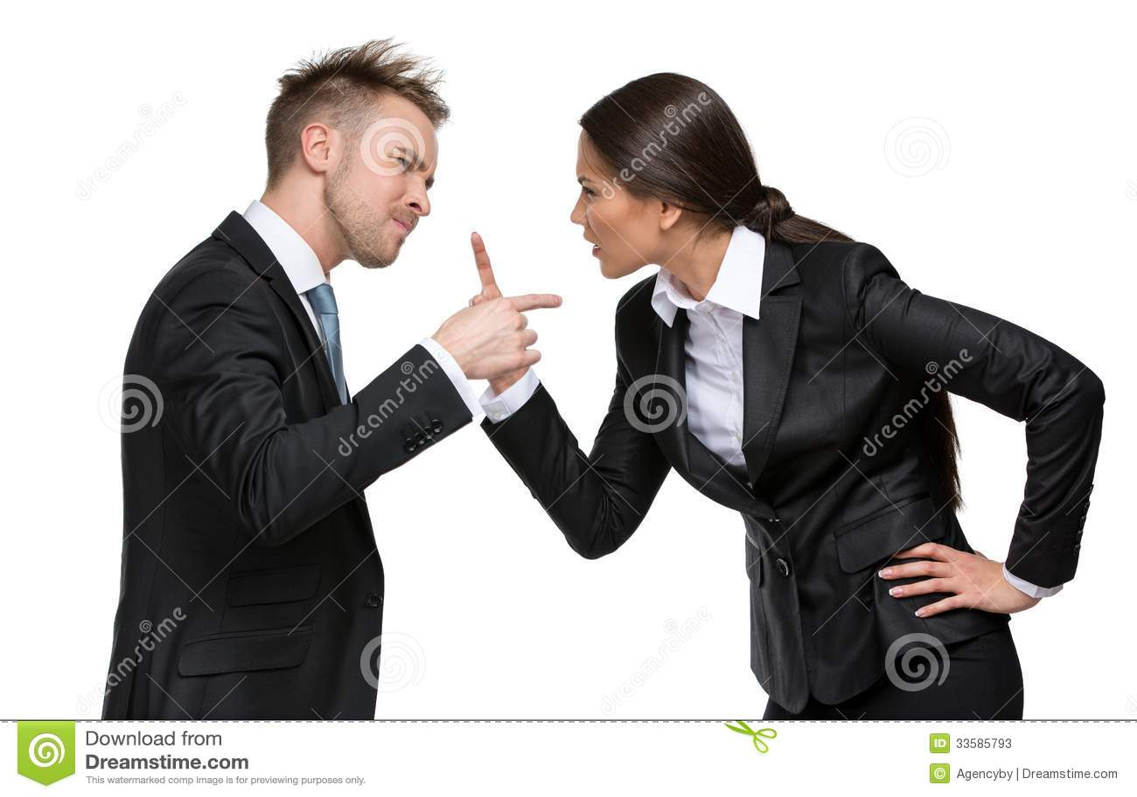 Two businesspeople debate