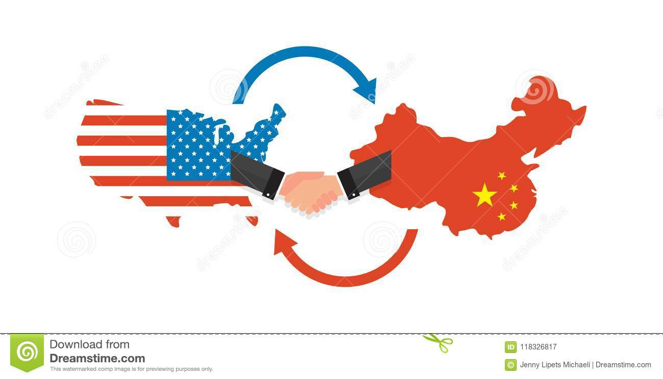 Two Businesspeople Handshake After Good Deal Us America And China - China-and-us-map