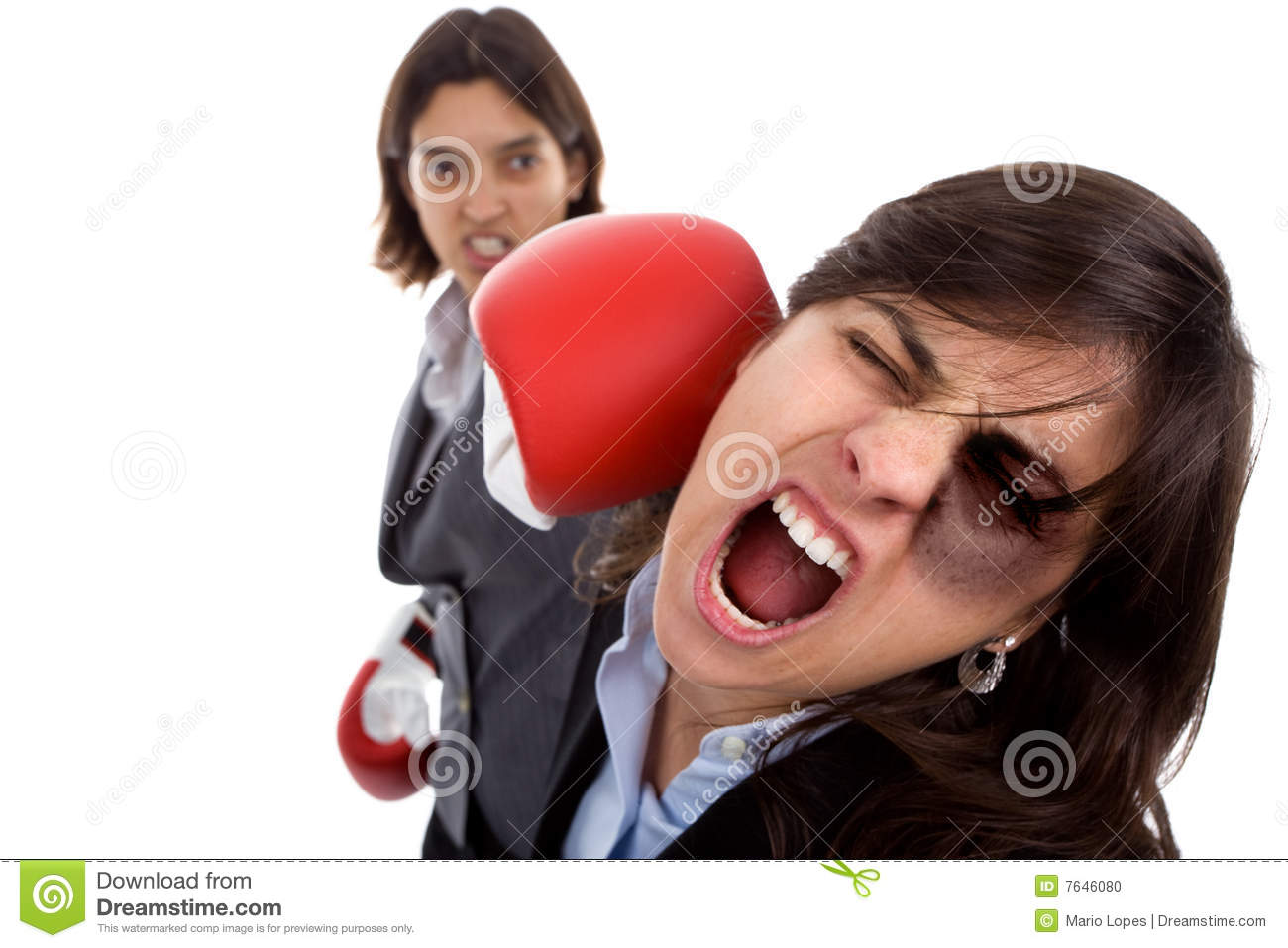 Two Businesswoman With Boxing Gloves Fighting Stock Photo ...