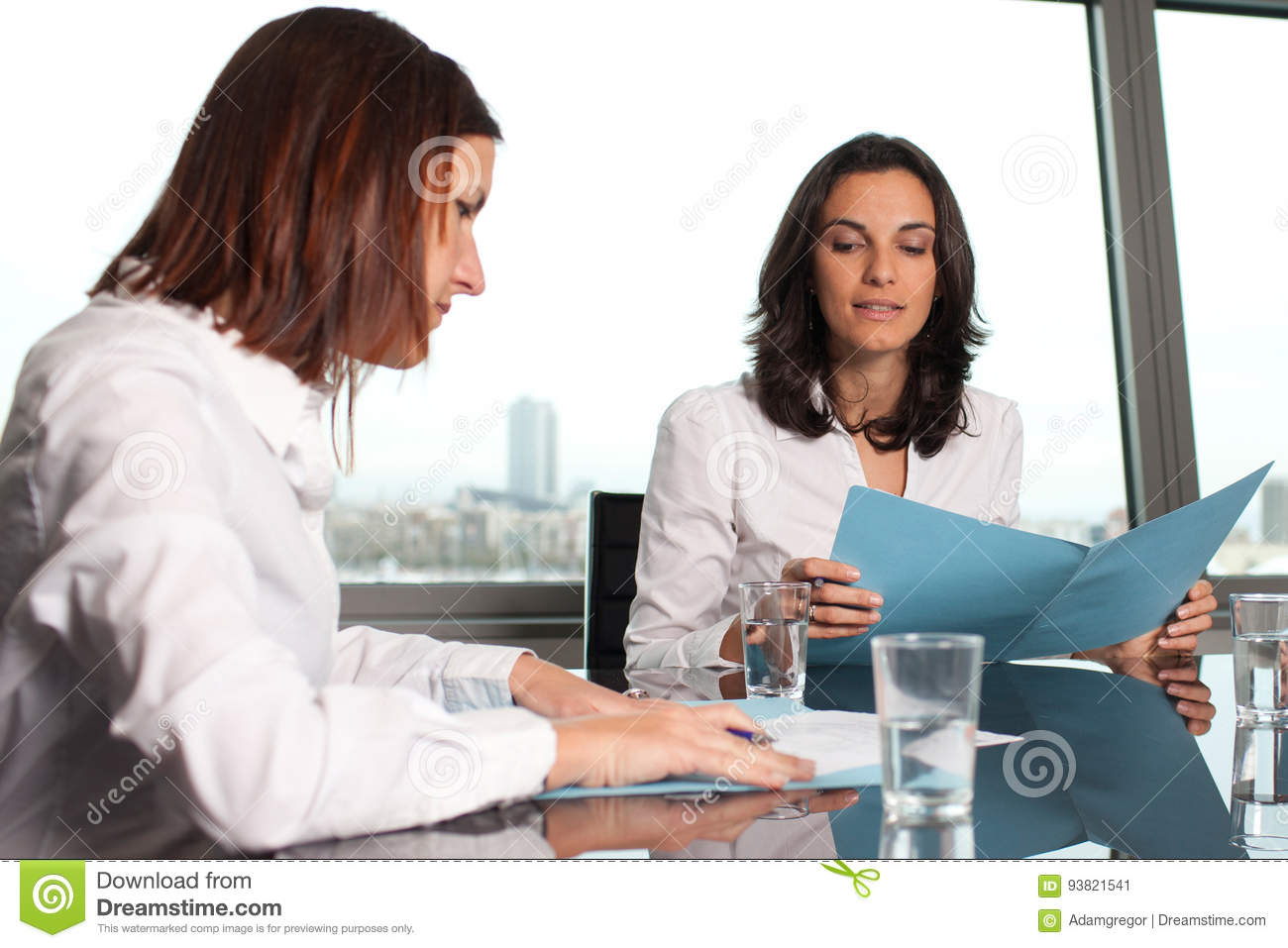 Two businesswomen checking documents