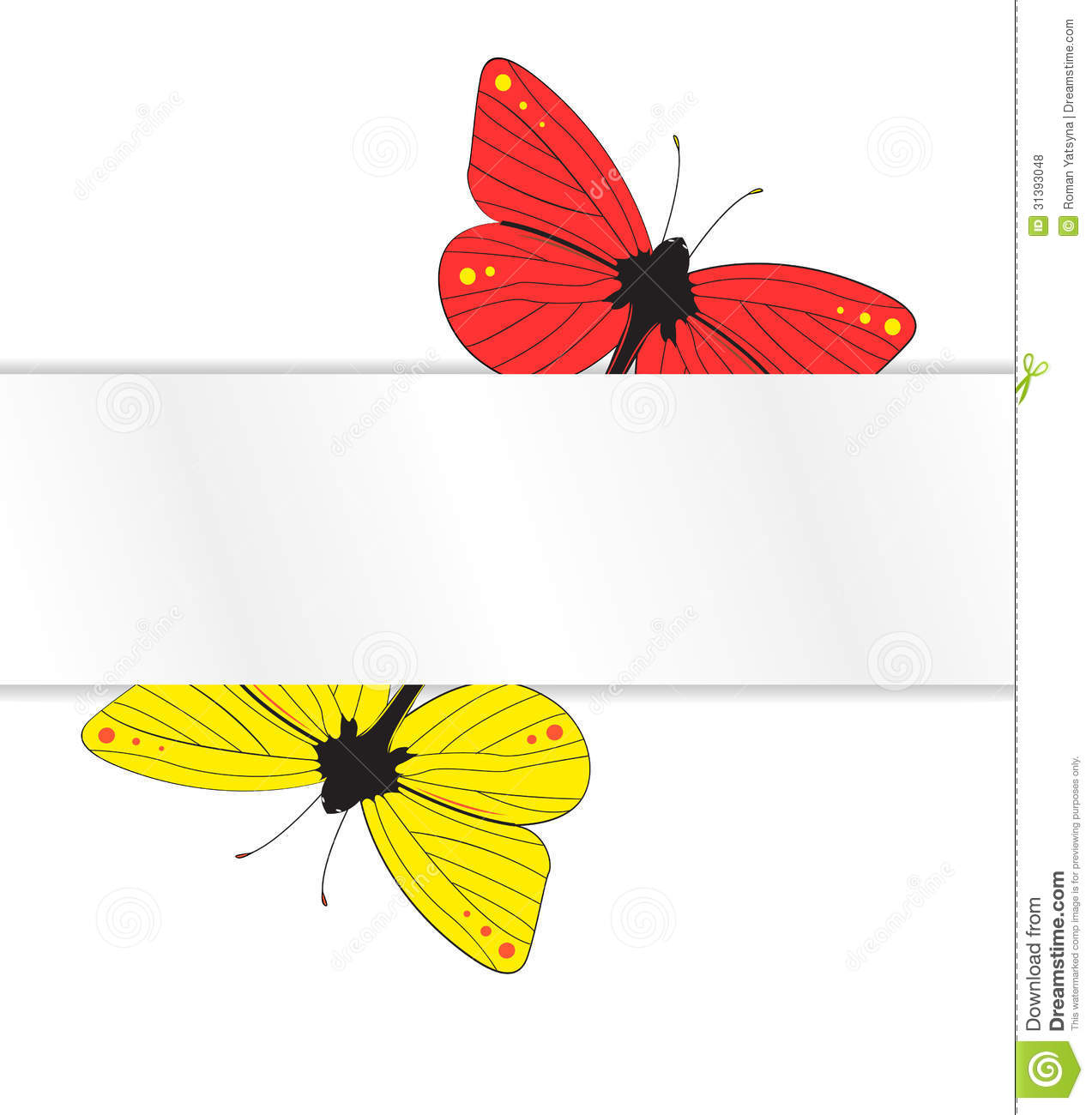Two butterflies under the white paper tab royalty free for White paper butterflies