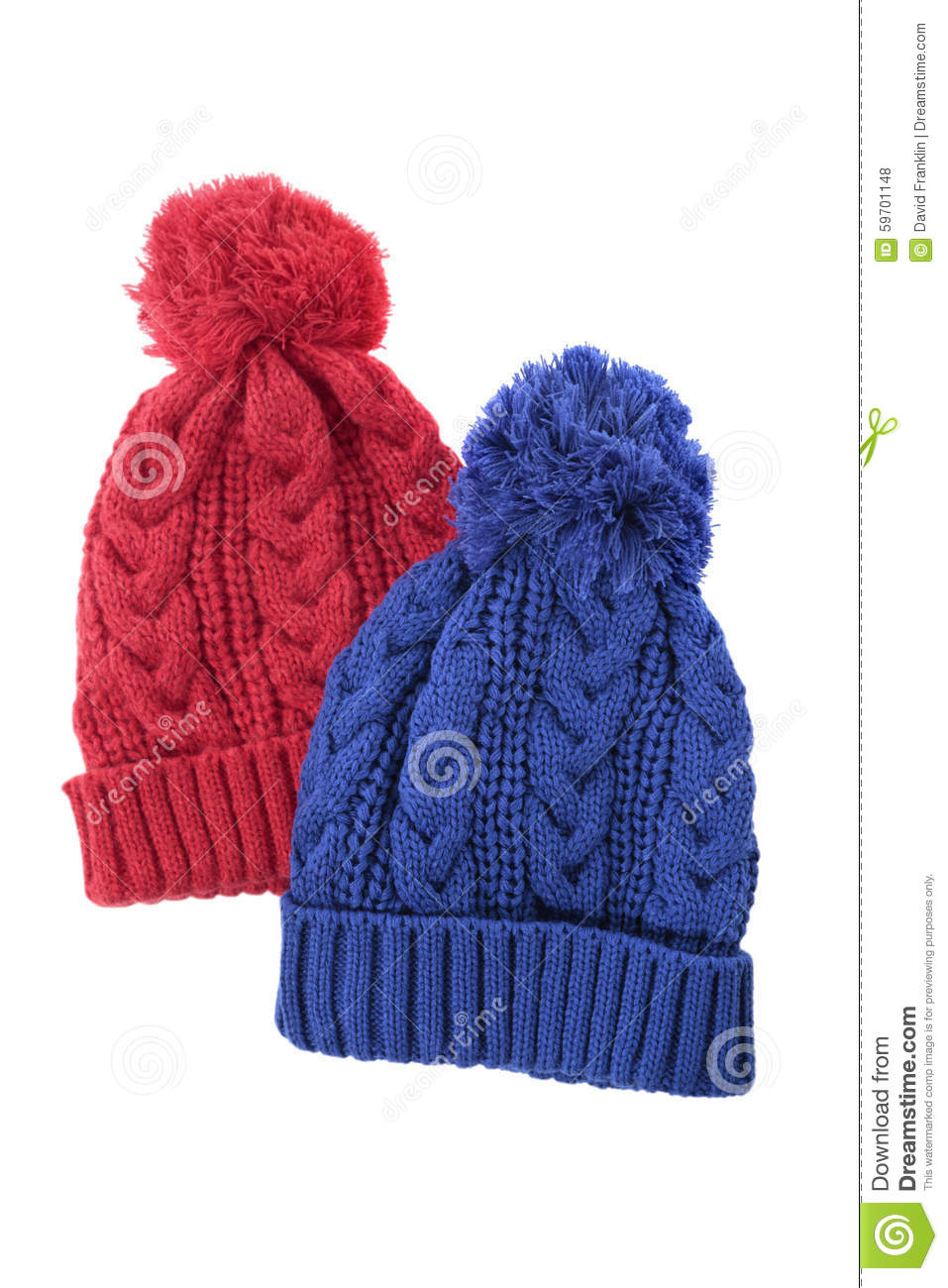 14558984faa Red and blue cable knit bobble hats or ski hats isolated on a white  background.
