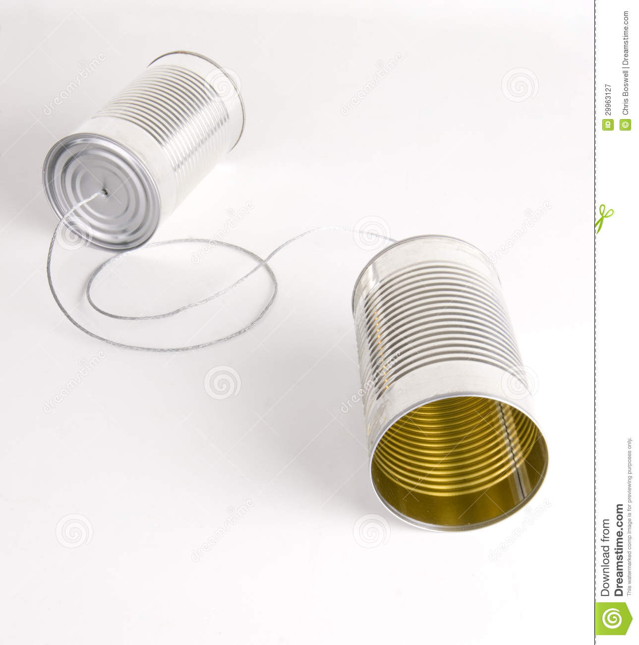 Two Cans Strung Together With Metal Wire Walkie Talkie Stock Image ...