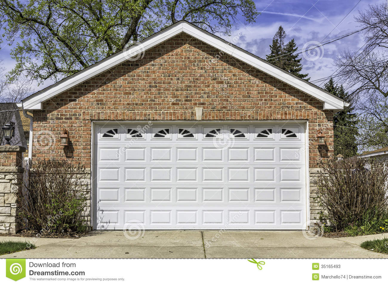 Two car garage stock image image of outside door for Multi car garage