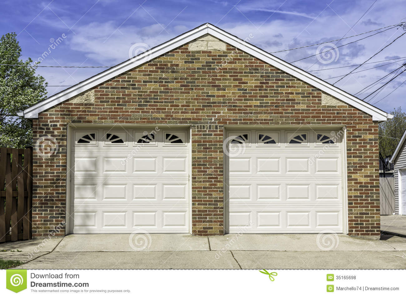 Two car garage stock photo image of sign outside shadow for Brick garage plans