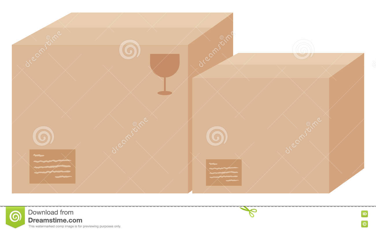 Two cardboard boxes with labels