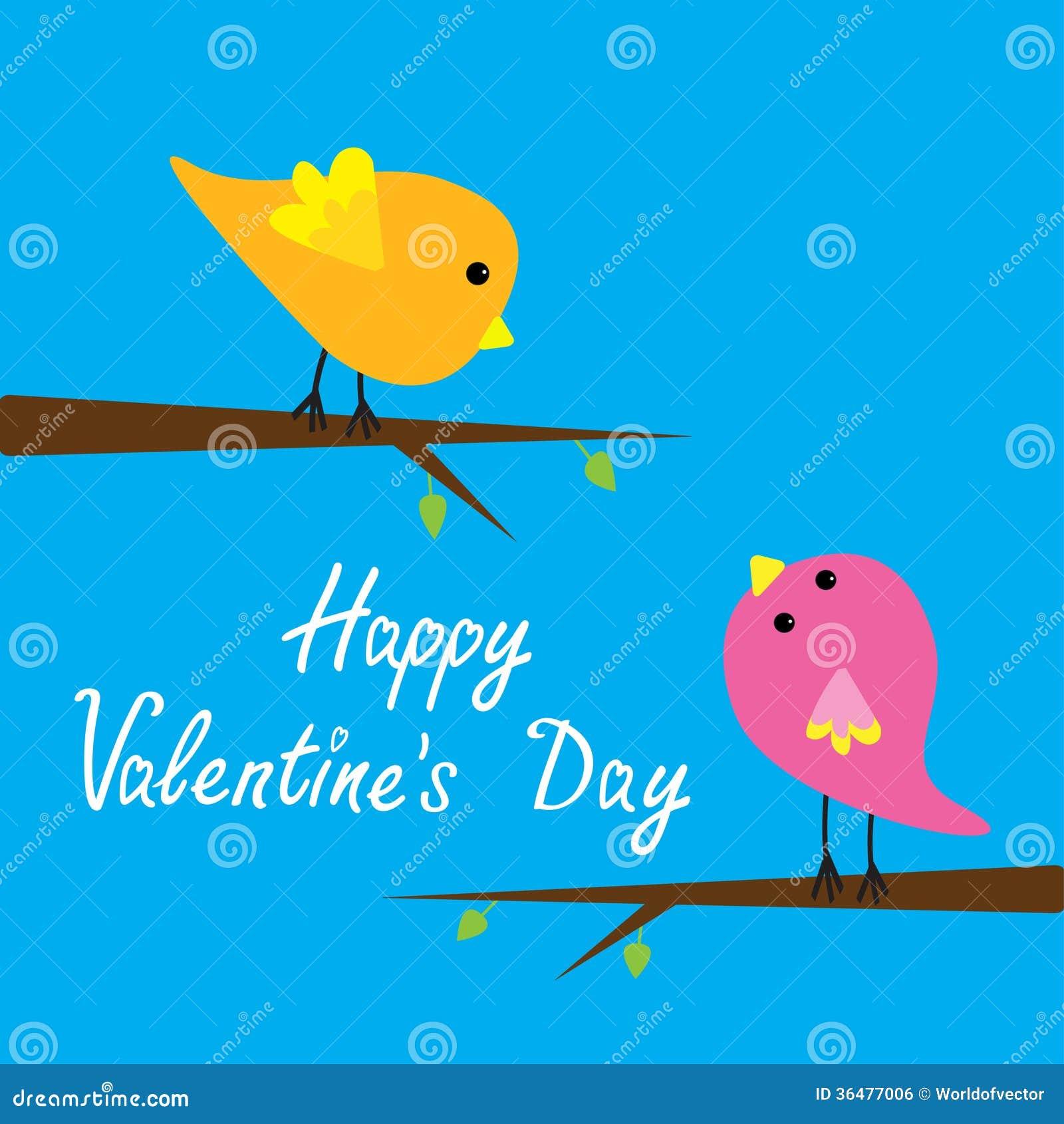 Two Cartoon Birds Happy Valentines Day Card Stock Vector