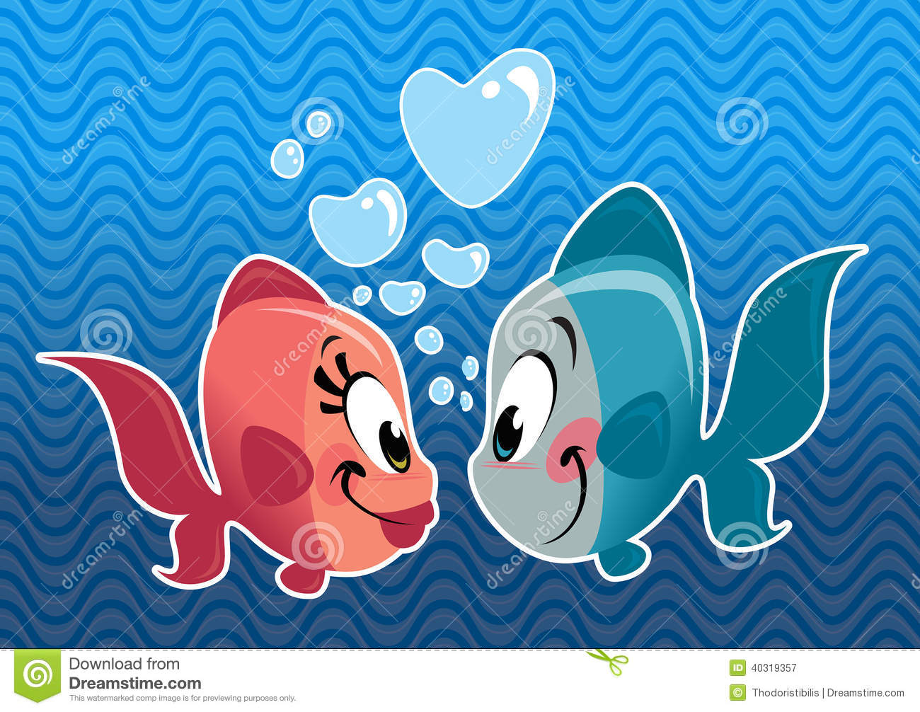 cartoon fishes characters vector illustration