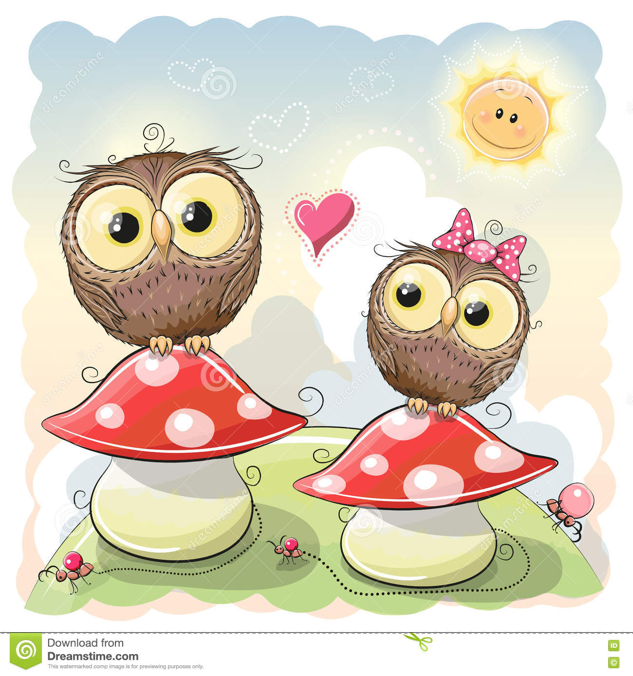 Two cartoon owls stock vector illustration of love drawing two cartoon owls voltagebd Images