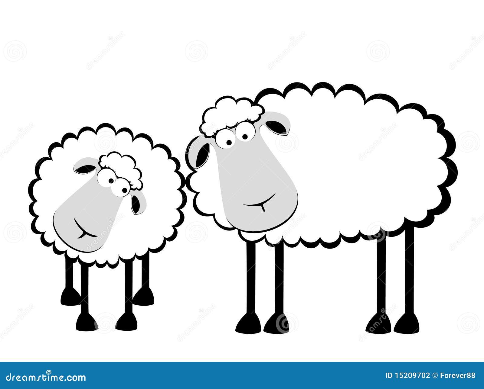 two cartoon smiling sheep 15209702