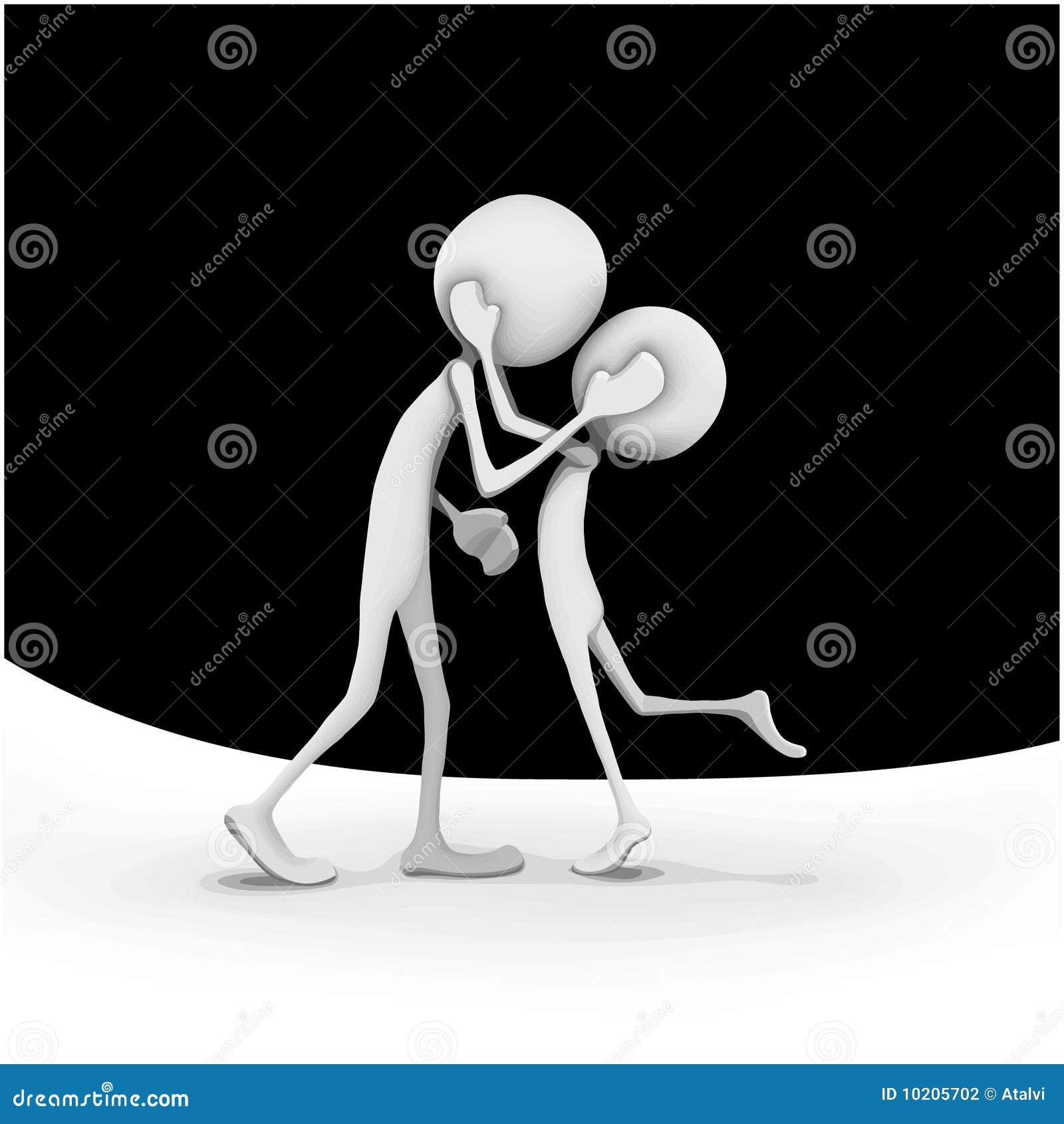 Cartoon Characters Kissing : Two cartoony characters kissing stock photography image