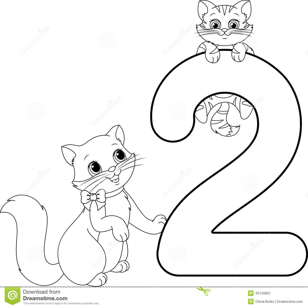 Two Cats Coloring Page Stock Vector - Image: 42142801