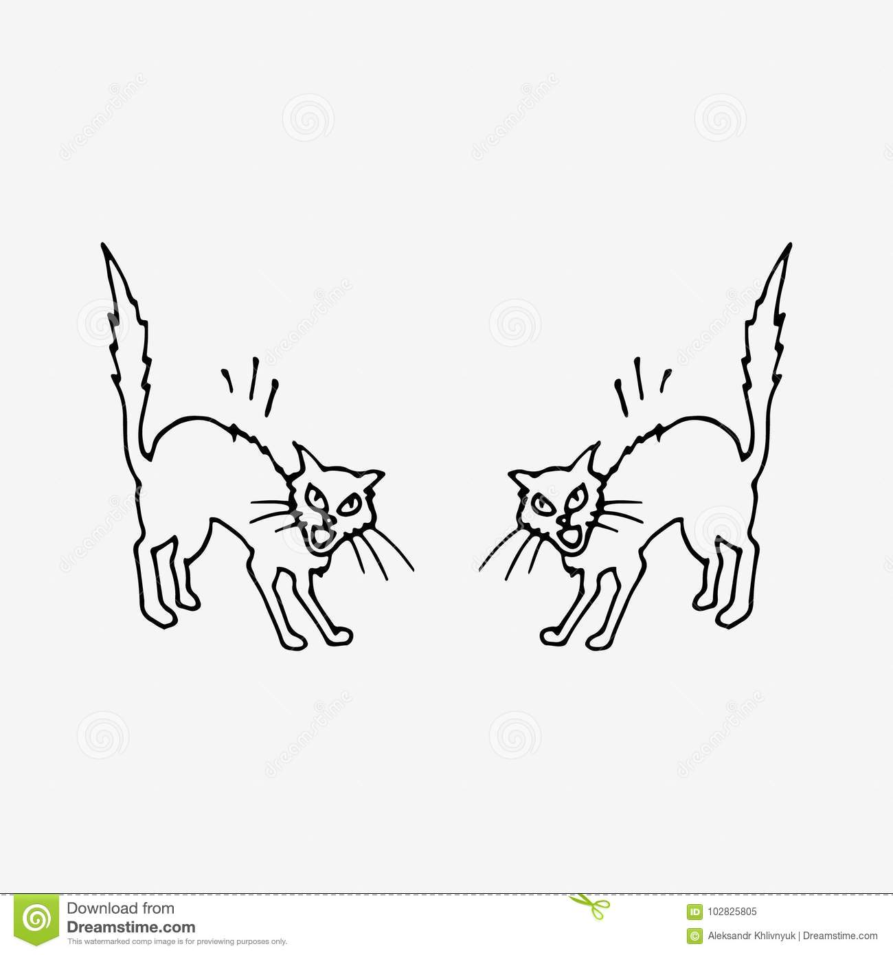 Two Cats Fighting Stock Illustration Illustration Of Anger 102825805