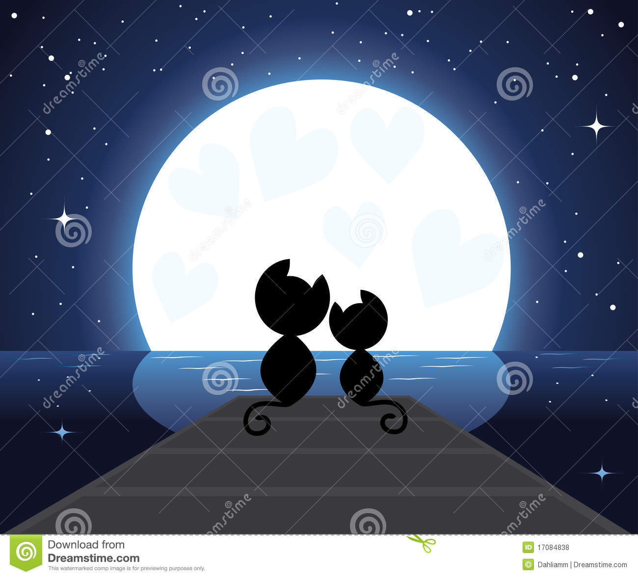 Two Cats In Love Watching On The Moon Vector Illustration