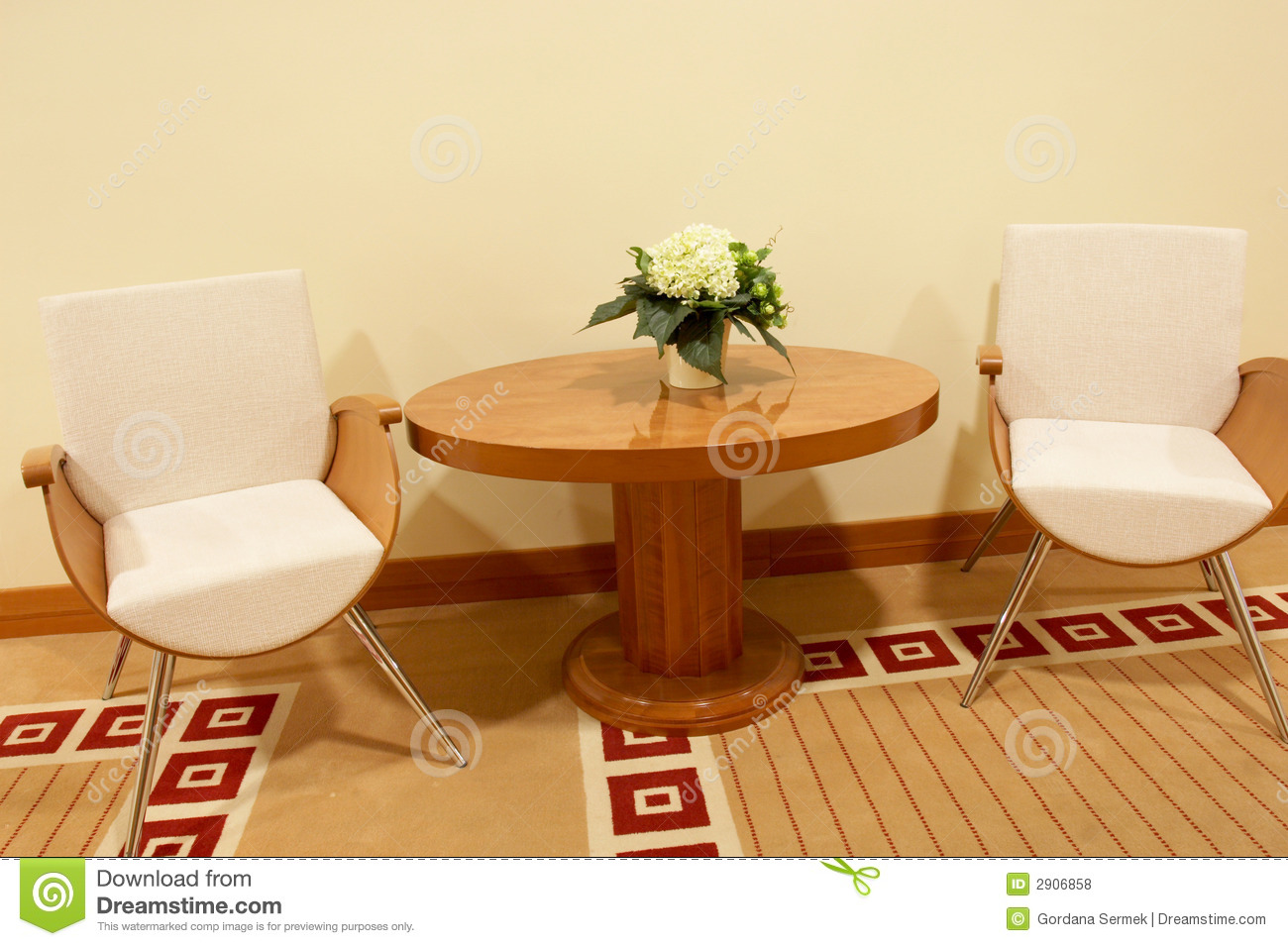 Two Chairs And A Coffee Table Stock Photo Image Of Chair Orange 2906858