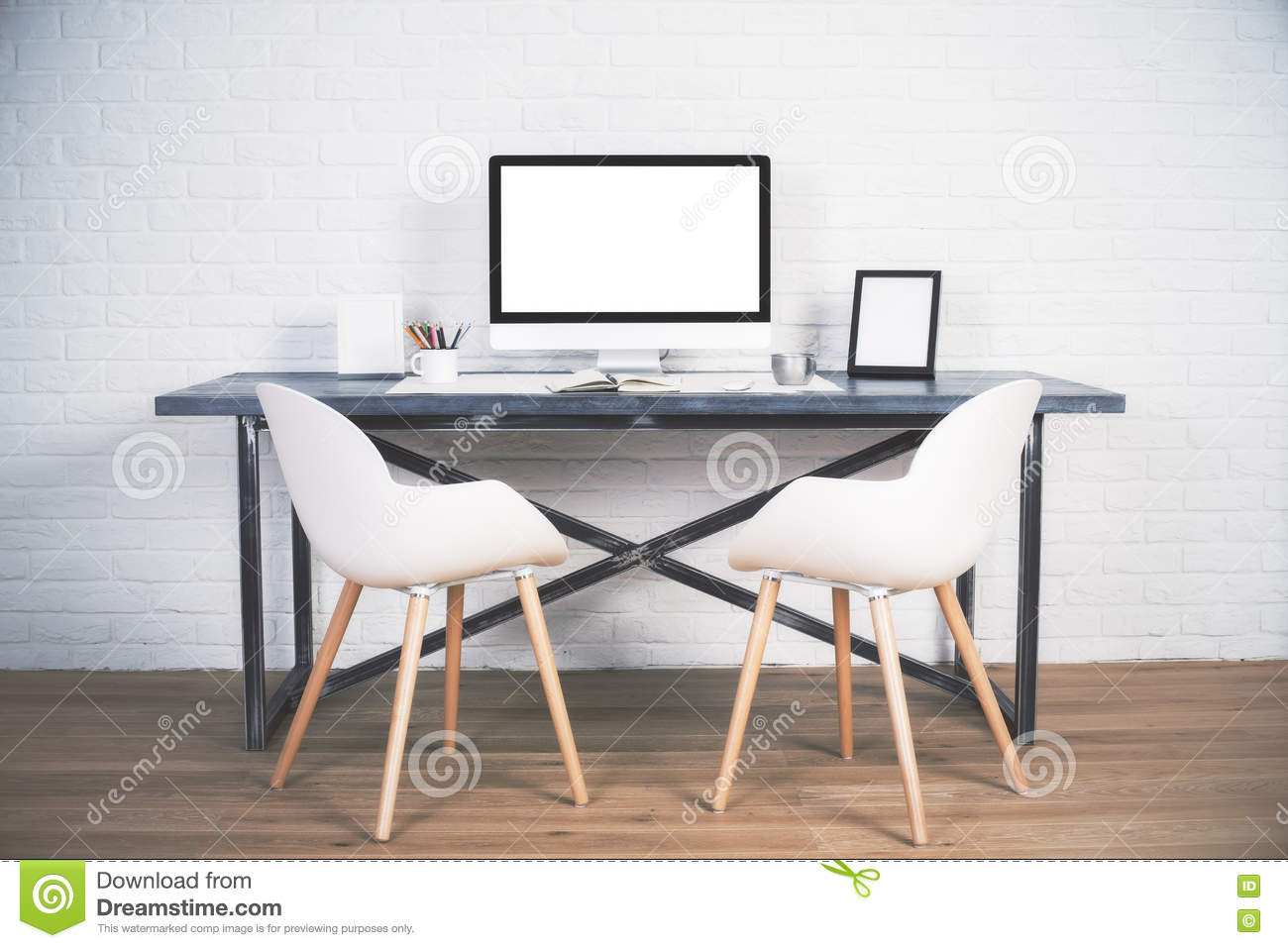 Download Two chairs at desk stock photo. Image of frame, empty - 72196130