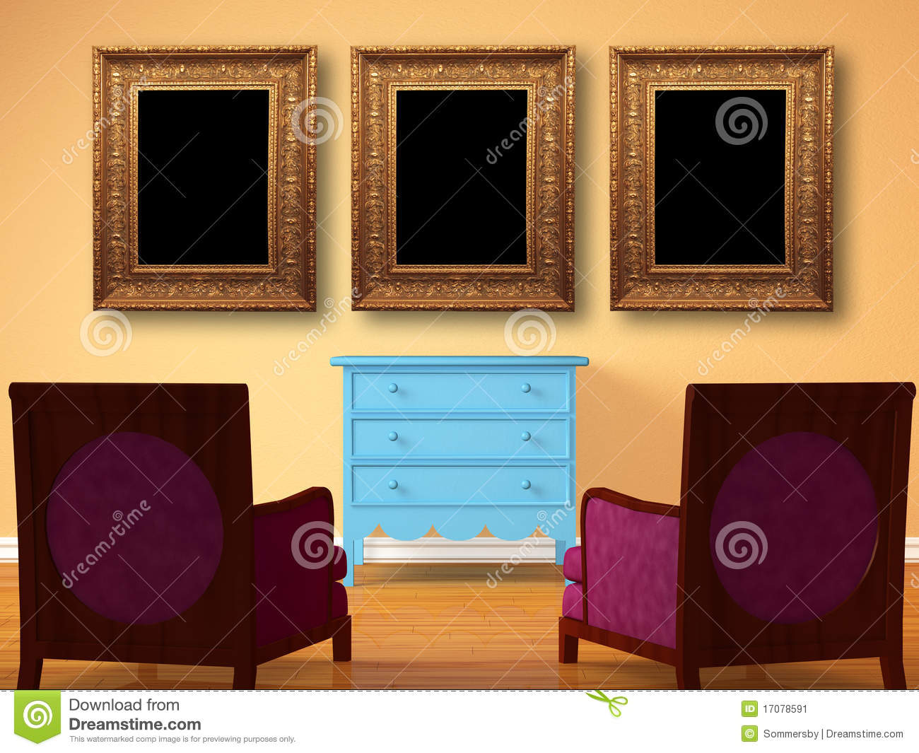 Two chairs opposite wooden bedside with frames