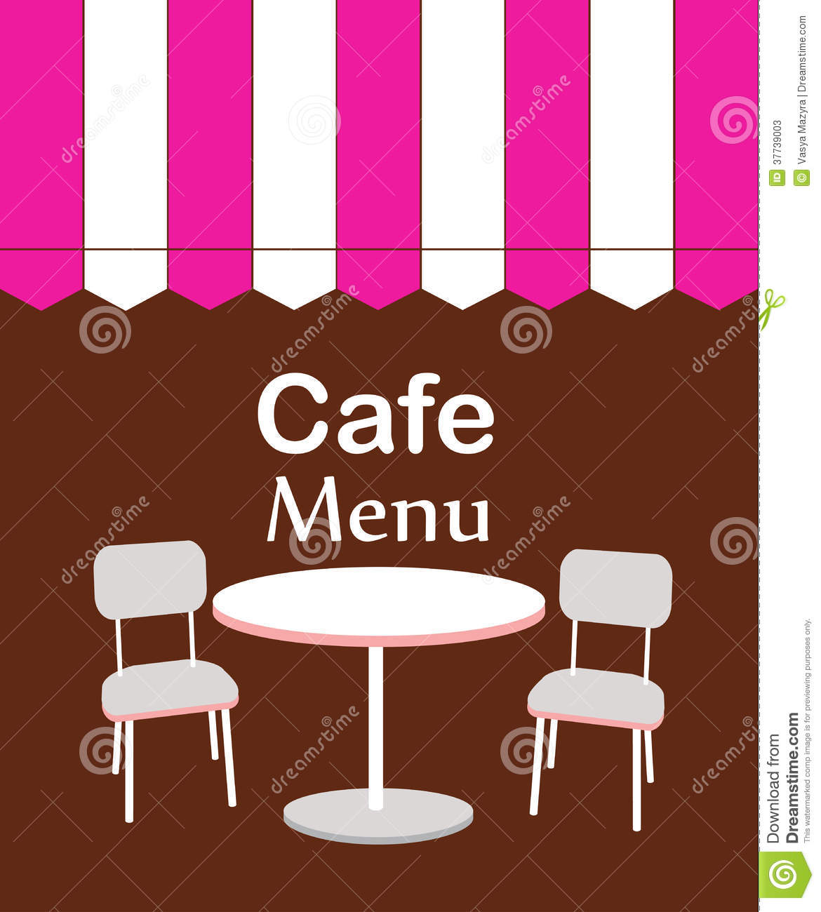 Two chairs and table in restaurant vector illustration