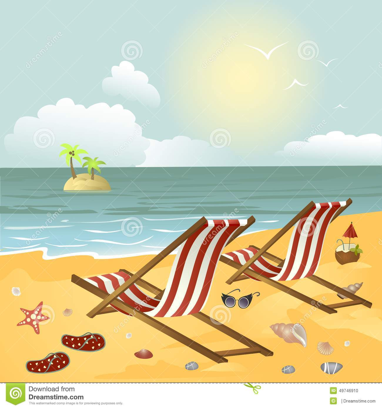 Two chaise longue on the beach stock vector image 49746910 for Chaise longue pliante plage