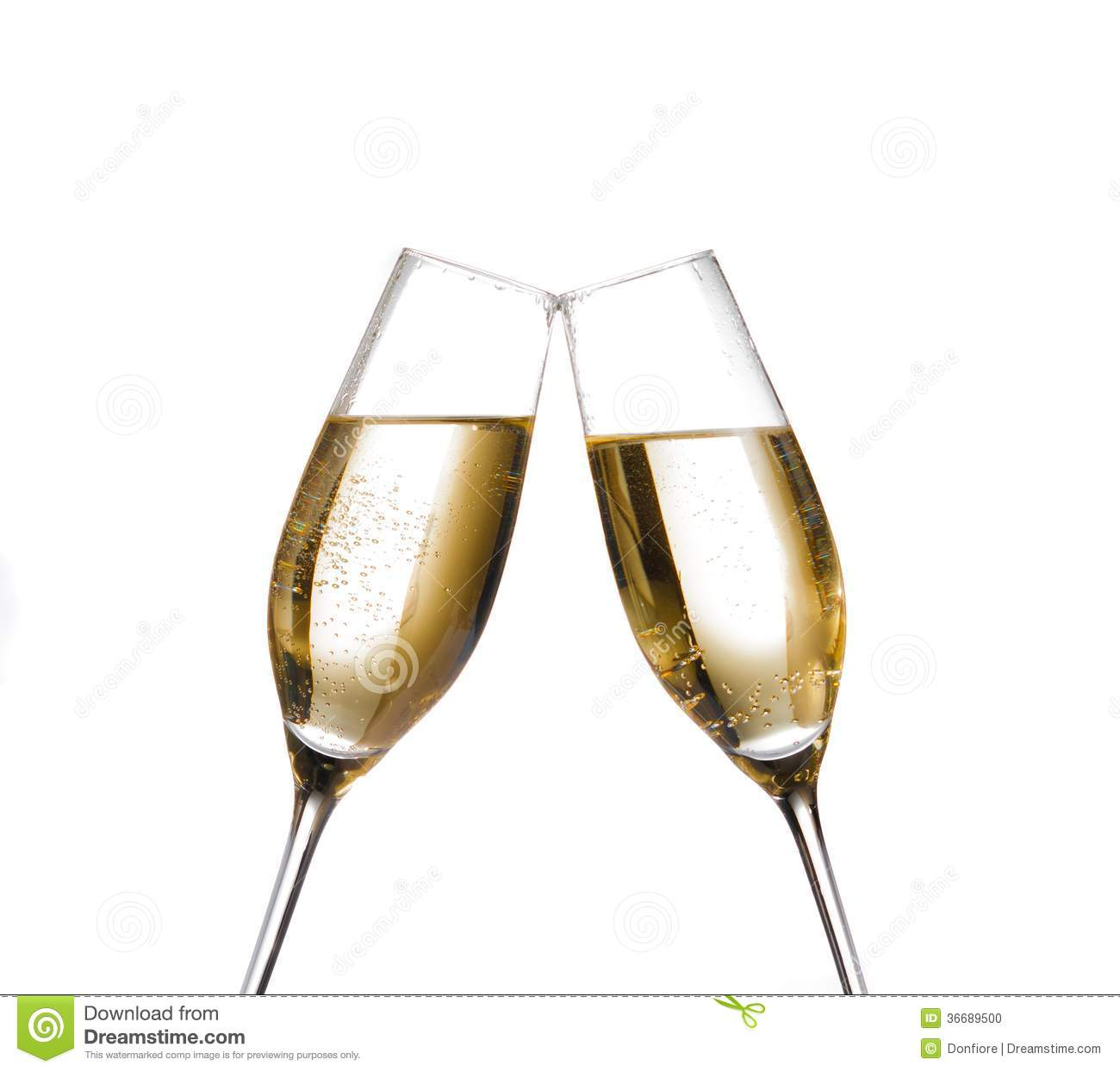 Stock Photo: Two champagne flutes with golden bubbles make cheers on ...