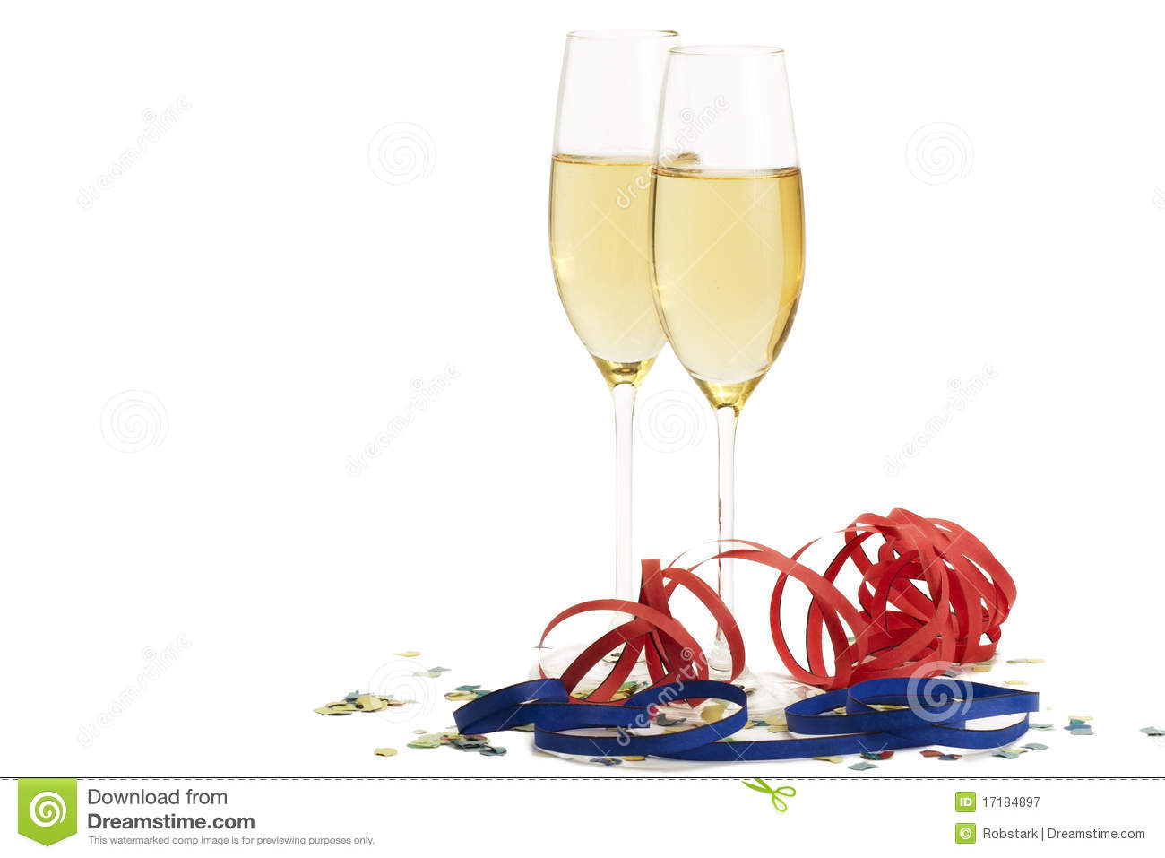 Two Champagne Glasses With Blow-outs And Confetti Royalty Free