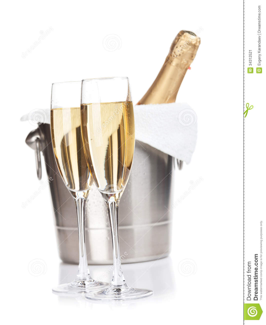 Champagne Glasses And Bottle In Bucket Stock Image  Image: 34312521