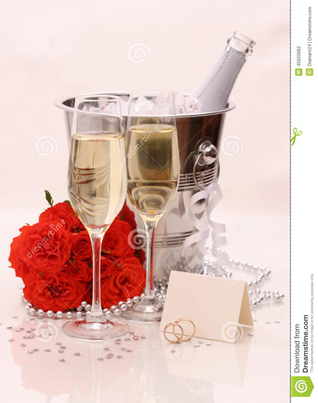 two champagne glasses red roses golden wedding rings stock photo image 45620062. Black Bedroom Furniture Sets. Home Design Ideas