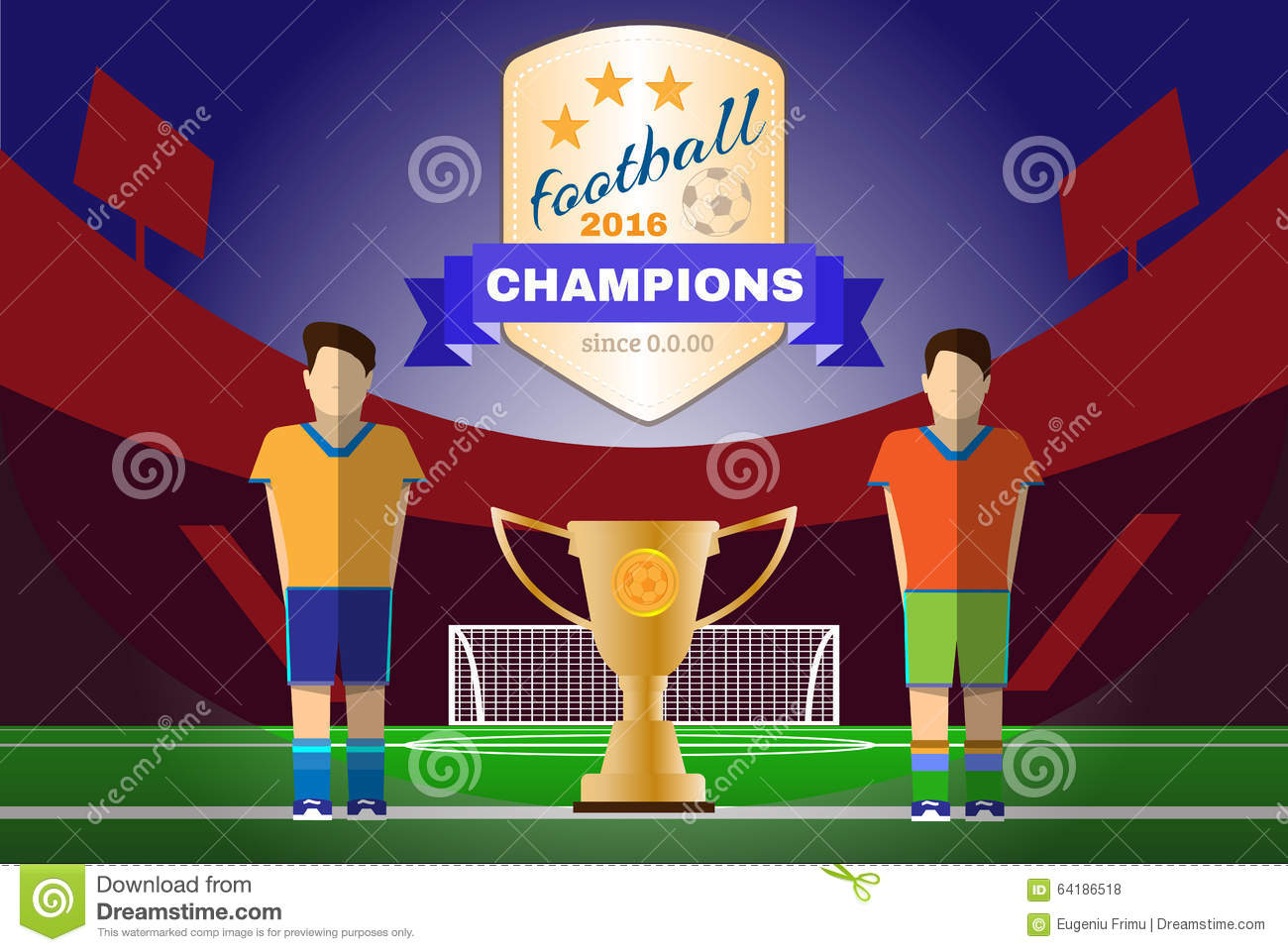 Soccer game players on the playfield two football clubs champions