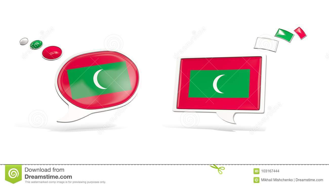 Two Chat Icons With Flag Of Maldives Stock Illustration