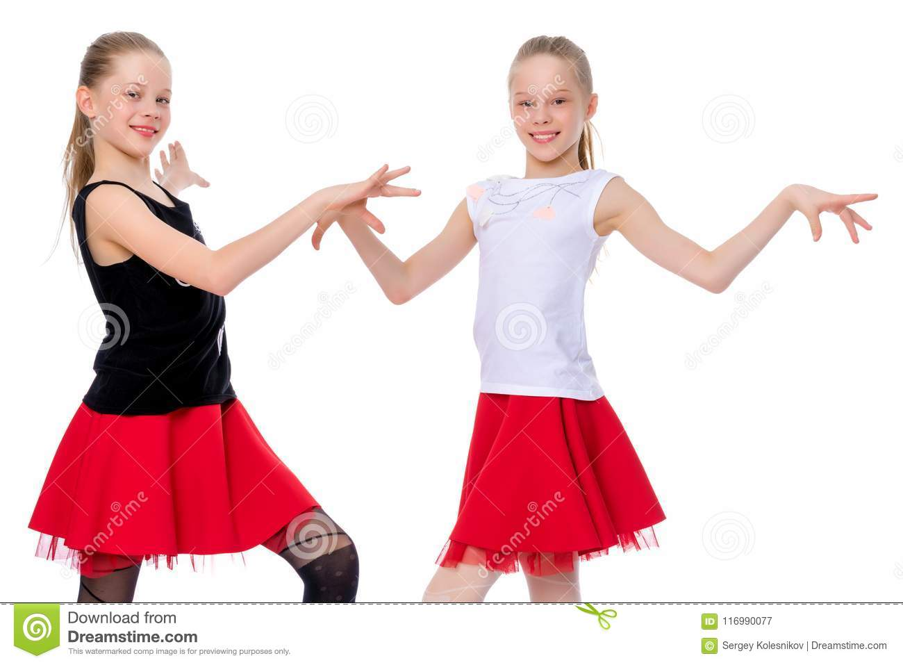 b668e917e Two Cheerful Little Girls Are Dancing. Stock Image - Image of ...