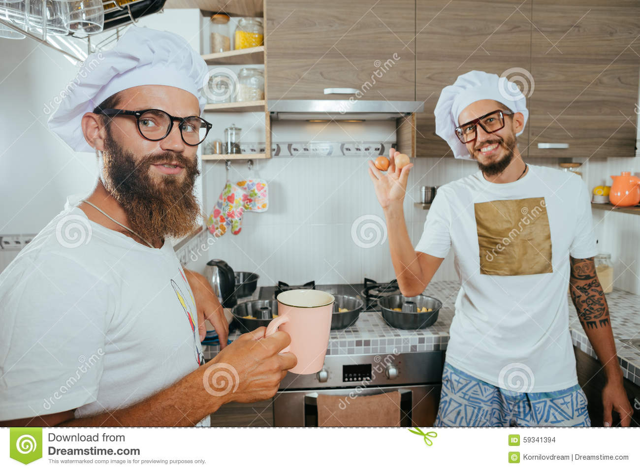 Two Chefs Cooking On Kitchen Stock Photo - Image of cooking, form ...