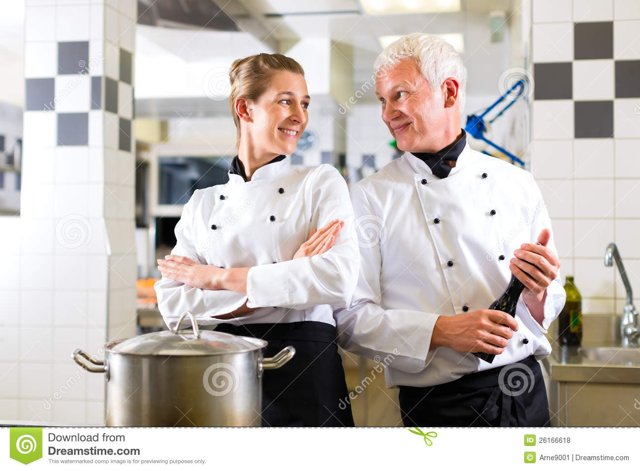 Two Chefs In Team In Hotel Or Restaurant Kitchen Stock Photo - Image ...