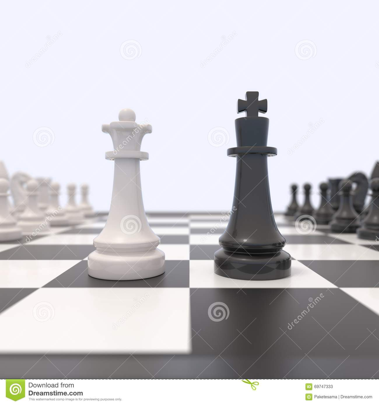 Black king and white queen facing each other confrontation between men and women feminism competition discussion agreement concept 3d illustration