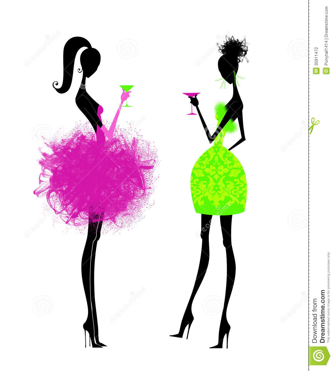 Two Chic Young Women In Party Dresses Stock Illustration