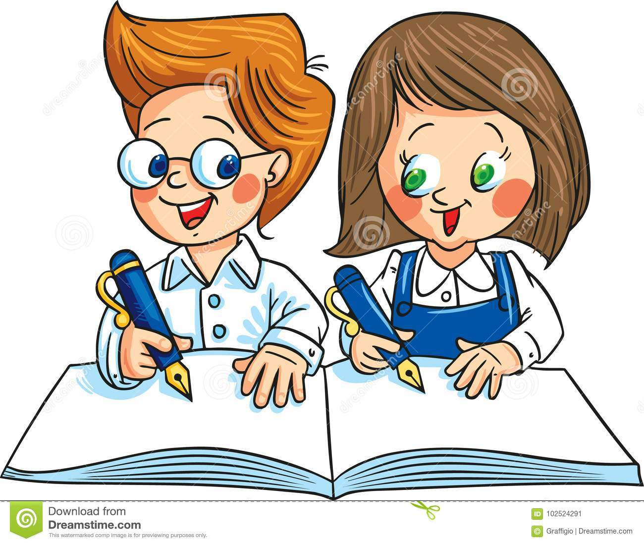 Two Children Writing On The Same Notebook. Vector ...