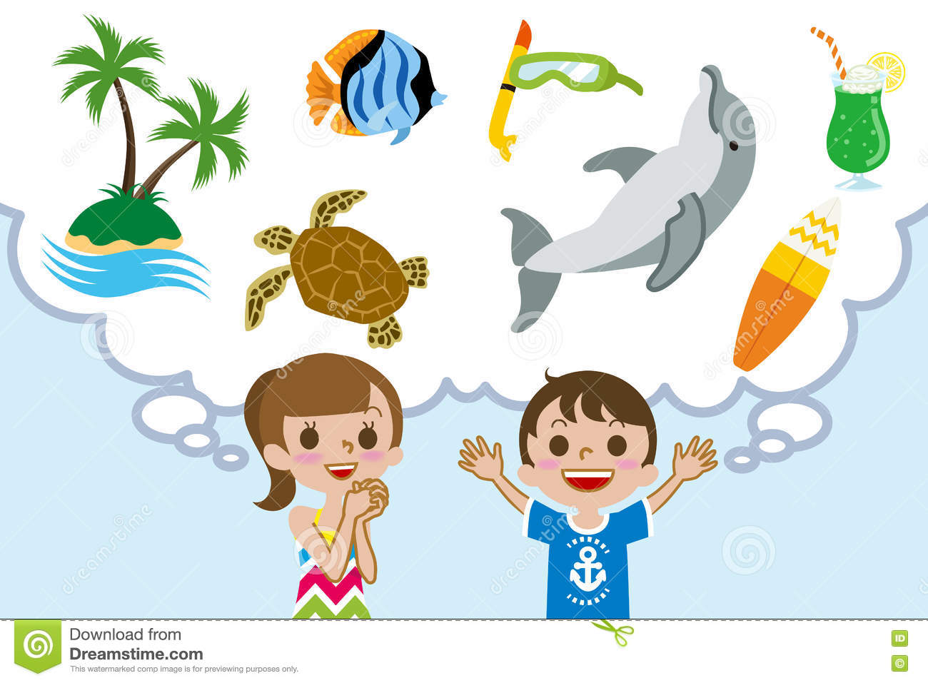 Download Two Children Dreaming Happy Summer Vacations Stock Vector