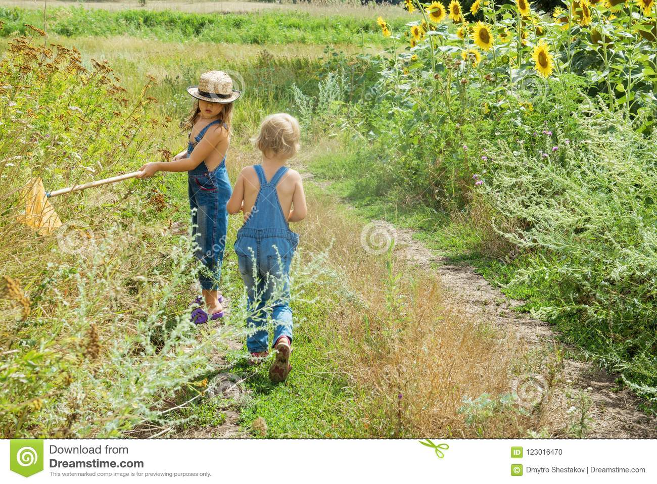 Two children with a insect net catches butterfly